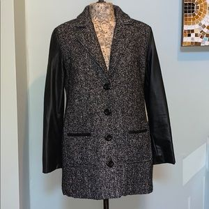 Forever 21 Tweed and Faux Leather Sleeved Pea Coat